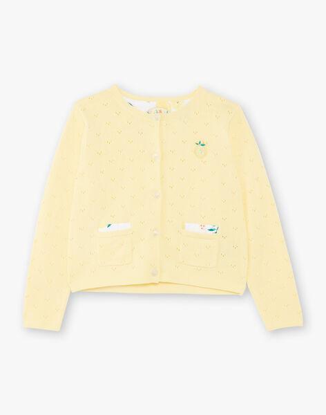 Cardigan jaune maille ajourée ZICADETTE / 21E2PFO1CARB104