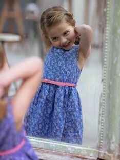 Robe évasée fleurie réversible enfant fille ZUREVETTE / 21E2PFT1CHSC208