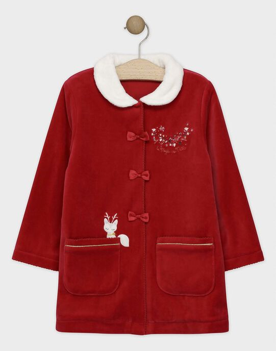Robe de chambre en velours rouge et col en fausse fourrure petite fille SOBICHETTE / 19H5PFQ1RDC511