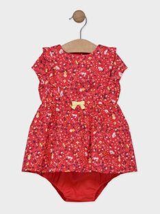 Robe imprimée rouge avec bloomer bébé fille SAANNA / 19H1BF21ROBD313