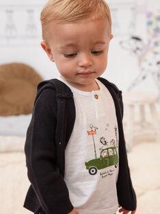 T-shirt blanc et vert bébé garçon BADAEL / 21H1BG21TMC632