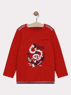 Tee-shirt à manches longues rouge imprimé océan garçon SEMANCHAGE / 19H3PGE1TML404