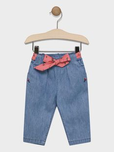 Baby girls' jeans with printed belt SACAROLE / 19H1BF31JEAP274