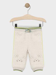 Pantalon de jogging bébé garçon beige chiné  TAAURELIEN / 20E1BGB1JGB632
