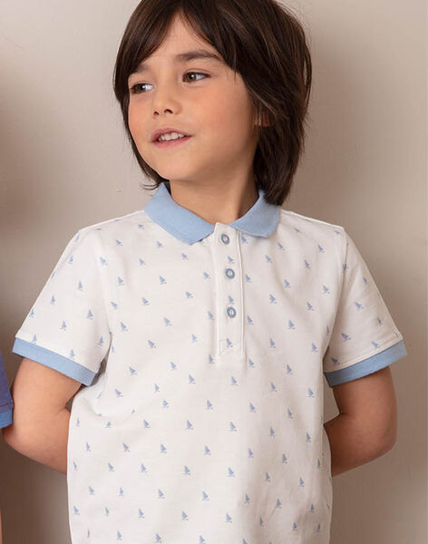 Polo écru à broderies bleu ciel enfant garçon ZYPOLAGE1 / 21E3PGW5POL001