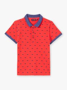 Polo rouge à broderies bleu marine enfant garçon ZYPOLAGE2 / 21E3PGW6POL050