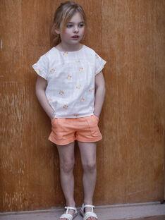 Short orange à ceinture en serge de coton ZIJOETTE / 21E2PFO1SHO406