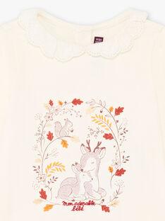 T-shirt col dentelle imprimé fantaisie bébé fille BAILIA / 21H1BFJ1BRA001