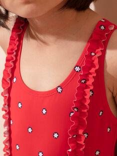 Maillot de bain rouge imprimé fleurs enfant fille ZAIZOETTE / 21E4PFR3D4K050