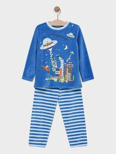 Pyjama en velours uni et bas rayé avec animation phosphorescente SEALIAGE / 19H5PG53PYJ219