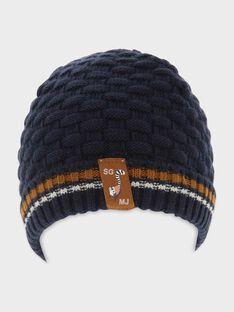 Bonnet bleu tricot fantaisie garçon SATETAGE / 19H4PG61BON070