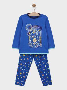Pyjama haut en jersey et bas en chaîne et trame avec animation phosphorescente petit garçon SELUNAGE / 19H5PG54PYJ221