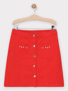 Jupe en toile rouge femme TUFIEF / 20E2FFH1JUP050