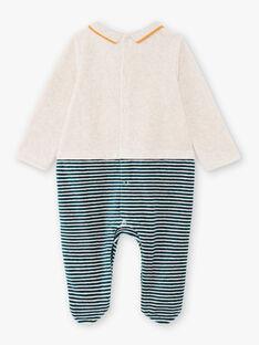 Grenouillère manches longues à rayures et motif fantaisie bébé garçon BEARTHUR / 21H5BG62GRE943