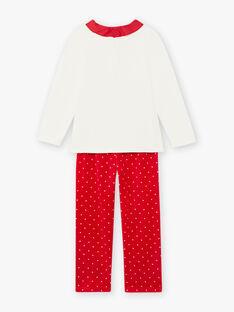 Pyjama écru et rouge en velours motif LOUP enfant fille BELOUPETTE / 21H5PFN1PYJ001
