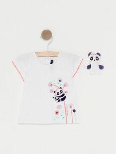 T-shirt écru et marionnette de doigt bébé fille   TAQLOE / 20E1BFP1TMC001