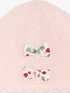Bonnet rose point mousse nœuds imprimés ZAABY / 21E4BFM1BON301
