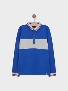 Polo bleu électrique en piqué garçon SAMATAGE 2 / 19H3PG92POL217