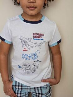 T-shirt blanc imprimé océan enfant garçon ZINUAGE / 21E3PGT2TMC000