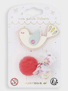 Lot de 2 barrettes oiseau et pompons petite fille TYCOMETTE / 20E4PFKCBRT000