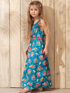 Robe fleurie bleu lagon fille TEUMETTE / 20E2PFX1RBS210