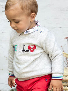Pull manches longues gris chiné brodé bébé garçon BABOBO / 21H1BG11SWE943