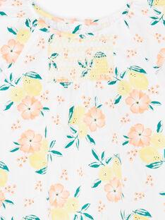 Robe évasée blanche imprimé citron ZICITETTE / 21E2PFO1ROB000