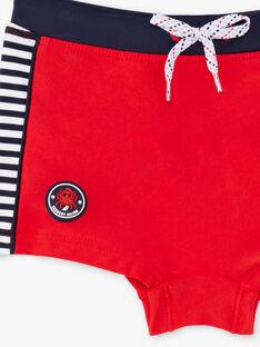 Boxer de bain rouge à rayures enfant garçon ZYBOXAGE / 21E4PGR2MAI505