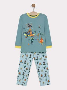 Pyjama en jersey uni et bas impression dinosaures petit garçon  SEDINAGE / 19H5PG55PYJ614