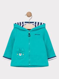 Veste de jogging à capuche bébé garçon bleu turquoise  TAEUDE / 20E1BGD1JGH209