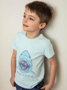T-shirt bleu imprimé requin ZUZAGE1 / 21E3PGL3TMC614