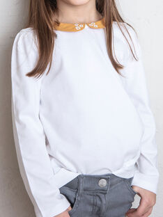 T-shirt blanc manches longues et col claudine enfant fille ZLIMETTE1 / 21E2PFK5TML001