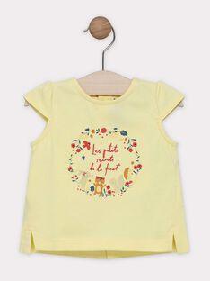 T-shirt jaune avec animation devant bébé fille SAAVRIL / 19H1BF21TMCB115