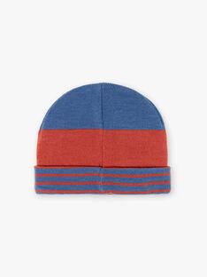 Bonnet bleu et rouge en rib  ZATAGE / 21E4PGM1BON506
