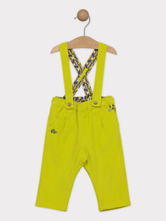 Pantalon à bretelles bébé garçon vert anis, doublé en jersey  SAKILLIAM / 19H1BG63PAN605