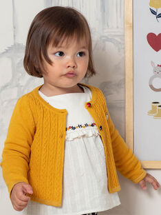 Cardigan maille manches longues jaune bébé filel BAELOISE / 21H1BF52CAR109