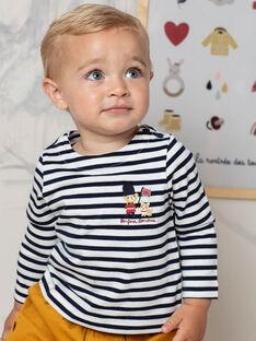 T-shirt blanc et bleu marine à rayures bébé garçon BAFLORIS / 21H1BG51TML001