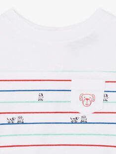 T-shirt blanc et bleu à rayures bébé garçon BABILLY / 21H1BG11TML001