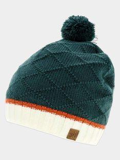 Bonnet vert tricot fantaisie garçon SABONNAGE / 19H4PGC1BONG618