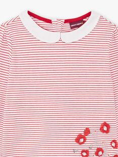 T-shirt écru manches longues à rayures enfant fille BACHETTE / 21H2PF11TMLF505