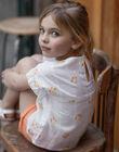 T-shirt blanc broderies Citron ZIBOETTE / 21E2PFO1CHE000