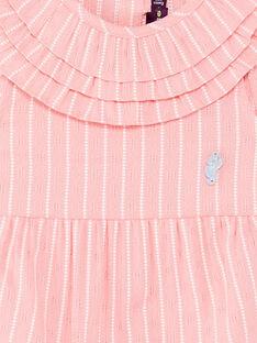 Salopette courte rose à rayures bébé fille ZAPRUNE / 21E1BFT1CBLD305