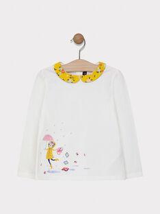 Tee-shirt écru col fleuri fille SITAMETTE / 19H2PF41TML001