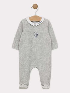 Dors bien en velours gris chiné et son bonnet bébé garçon SYBODOUIN B / 19H0NGM3GRE943