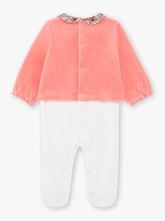 Grenouillère manches longues bicolore en velours bébé fille BEBULLE / 21H5BF61GRE404