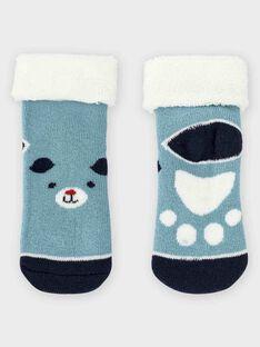Chaussettes bouclettes bleu grisé bébé garçon TACLOVIS / 20E4BGC2SOQG619