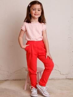 Jogging rose à poches volantées enfant fille ZLYZETTE / 21E2PFK2JGB419