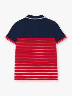 Polo bleu marine et rouge à détails blancs enfant garçon ZAZPLAGE3 / 21E3PGK2POL070