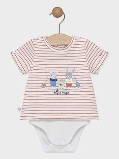 Body t-shirt bébé garçon à rayures écru et rouge  TALOU / 20E1BGH1BOD000