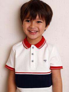 Polo blanc à détails rouges et bleu marine enfant garçon ZAZPLAGE2 / 21E3PGK3POL001